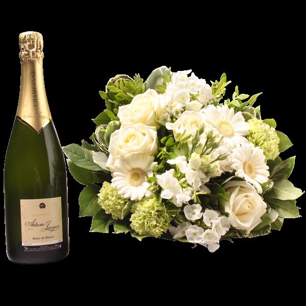White Bouquet With Champagne Interflora Belgium